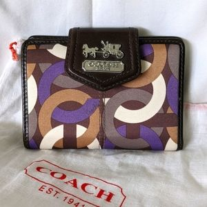 NWT Coach Bi-Fold Satin & Leather Graphic Wallet